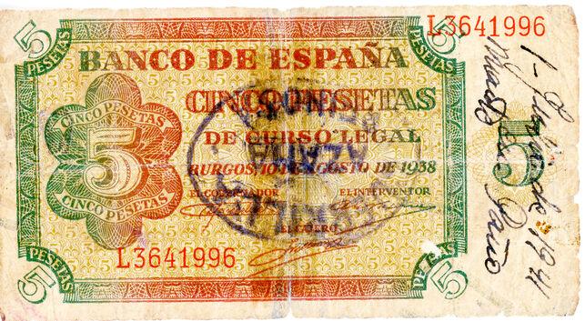 Billete de 5 pesetas emitido durante la Guerra Civil. | Colección Aris Rosino/Desmemoriados.