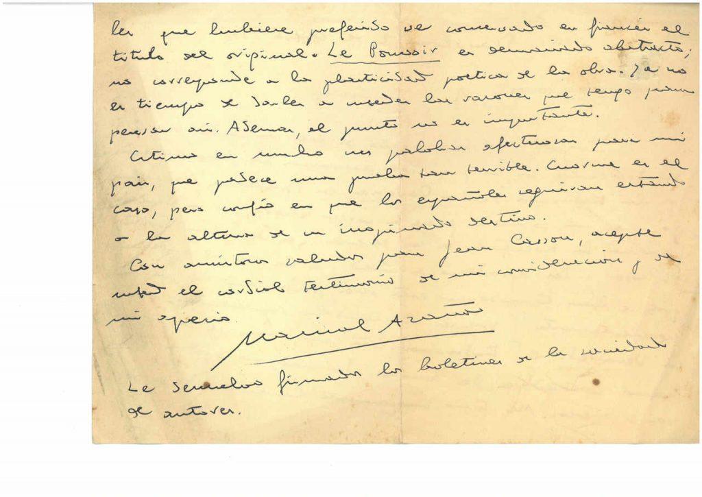 Fragmento de una carta inédita de Azaña de enero de 1937 a su traductor Jean Camp. En ella, le agradece su interés por la situación de España, en plena guerra civil.