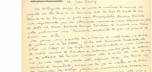 Fragmento de una carta inédita de Azaña dirigida a su traductor Jean Camp. INSTITUTO CERVANTES DE TOULOUSE